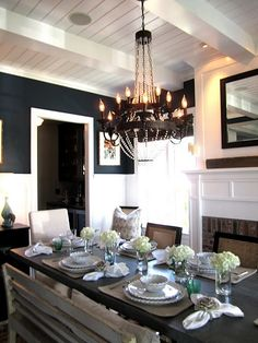 "love the dark walls and white beadboard (?..what is that called?)..anyway love the ""Beach Farmhouse"" look."