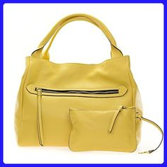 4a635605fa Gianni Chiarini Italian Made Banana Yellow Large Zip Pocket Tote Handbag  with Pouch - Shoulder bags
