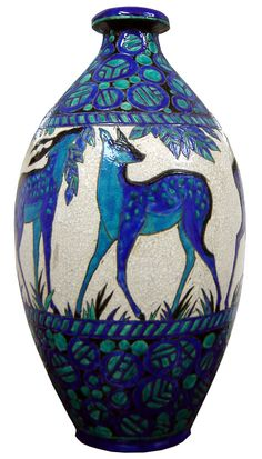 Belgian Art Deco Monumental Ceramic Vase Biches Bleues by Charles Catteau