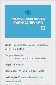 Divulga-se novo processo seletivo de Esmeraldas, lançado para contratação temporária de 159 profissionais.