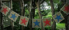 Americana - Patriotic - Red and Blue Stars Banner - Garland - 4th of July - Labor Day