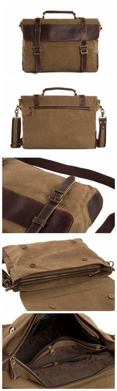 Unisex Canvas Leather Briefcase, Messenger Bag Laptop Shoulder Bag