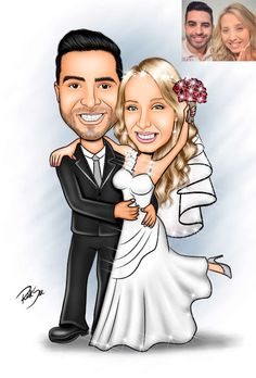 3 - Have my portrait painted. Caricature From Photo, Caricature Artist, Caricature Drawing, Bride And Groom Cartoon, Wedding Cards, Wedding Invitations, Wedding Caricature, Princess Zelda, Disney Princess