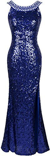 Angelfashions Womens Round Neck Beading Sequin Backless Slit Party Dress Xlarge Blue ** Details can be found by clicking on the image.(This is an Amazon affiliate link and I receive a commission for the sales)