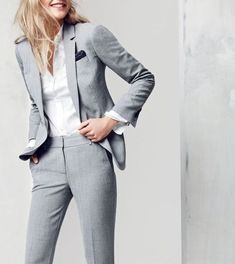 Grey Ladys Casual Business Office Pants Suit Custom Womens Work Wear Jacket Set