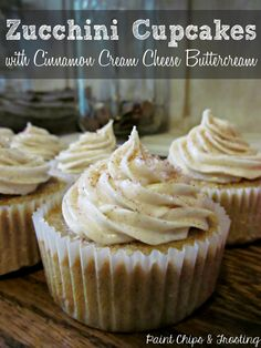 Zucchini Cupcakes with Cinnamon Buttercream on MyRecipeMagic.com #cupcakes #cupcakeideas #cupcakerecipes #food #yummy #sweet #delicious #cupcake