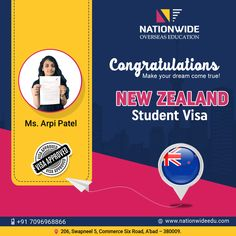 Congratulation Arpi Patel for your visa grant to study in New Zealand. We wish you all the best and happy stay in New Zealand.  #Nationwide #StudyInNewZealand #VisaConsultant #StudentVisaAgent G Logo Design, Study In New Zealand, Overseas Education, Dreaming Of You, Congratulations, Advertising, Student, News, Happy