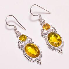 Pleasing Faceted Citrine .925 Silver Handmade Designer Earring Jewelry SJA291 #Handmade