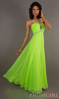 Long A-Line Neon Green Dress