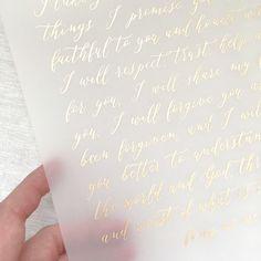 Calligraphy wedding vows gold ink vellum Gold Wedding Invitations, Wedding Paper, Wedding Vows, Invites, Dream Wedding, Gold Calligraphy, Wedding Calligraphy, Bridal Jewellery Online, Wedding Stationery Inspiration