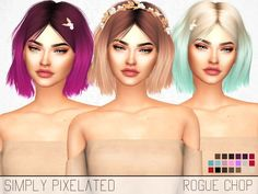 Sims 4 Hairs ~ The Sims Resource: Leahlillith`s Rogue Alpha Edit hair retextured - Modern The Sims 4 Pc, Sims Four, Sims 4 Cas, Los Sims 4 Mods, Sims 4 Game Mods, Die Sims, Sims Cc, Sims 4 Mods Clothes, Sims 4 Clothing