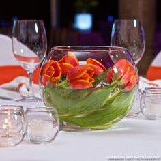 Tulip inspiration - beautiful coral orange and green! A lovely spring centerpiece idea.