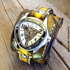 Tobacco Brown Leather Watch Cuff, Men's watch, Leather Wrist Watch, Custom Leather Cuff