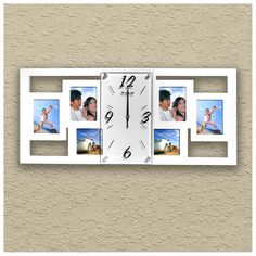 Wall Clock with 6 Photo Frames White - Creative Motion Industries
