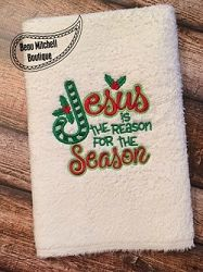 FREE! Jesus Is The Reason For The Season Holly Applique - 4 Sizes! | FREE | Machine Embroidery Designs | SWAKembroidery.com