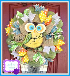 Spring mesh wreath Summer mesh wreath Owl wreath by MeshMebyAng, $70.00