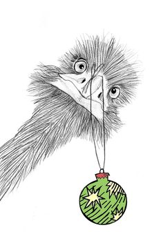Christmas Emu Art designed by Sian Whitehall at Jane's Apple .  Instant download.  Print for wall art or make greeting cards.