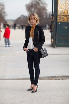 Paris street style, this look can easily be achieved with any CAbi dark Bree Jean, Our spring Front and Center Top & Chic Jacket & your favorite pumps & scarf. #CAbi REplace CAbi's avery TUnic in this photo with the front and center top, and you've duplicated this Parisian Chic look without getting on a plane! http://www.cabionline.com/collection/outfits/tres-chic-01/