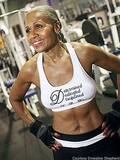 """75-year-old Ernestine Shepherd is the world's oldest female bodybuilder (according to the Guinness Book of World Records), works as a certified personal trainer at her Baltimore gym, and wakes up at 3 a.m. every morning to run (she logs 80 miles a week) and lift weights (she can bench-press 150 pounds). """"I feel better than I did at 40,"""" she told ABC News."""