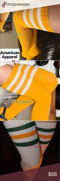 2 American Apparel Thigh High Socks Over The Knee Authentic American Apparel new never worn thigh high socks. Gold/yellow with white stripes and White with gold and green stripes. Treat yourself, you and your friends or give as a gift. Price Firm. American Apparel Accessories Hosiery & Socks
