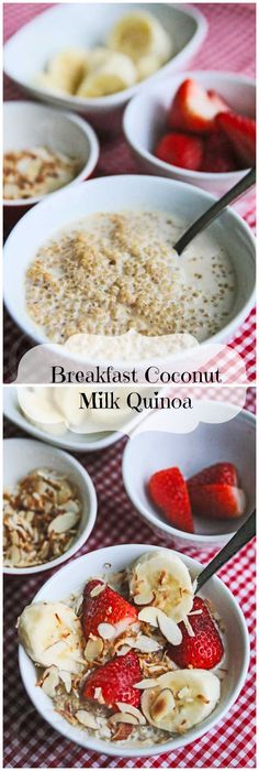 Breakfast Coconut Milk Quinoa with Fresh Fruit Breakfast Coconut Milk Quinoa with Fresh Fruit © Jeanette's Healthy Living Fruit Recipes, Brunch Recipes, Breakfast Recipes, Vegan Recipes, Cooking Recipes, Breakfast Ideas, Cooking Pasta, Cooking Utensils, Breakfast And Brunch