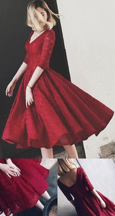 Red Homecoming Dresses, Short Homecoming Dress, Lace Homecoming Dress, V-Neck Homecoming Dress, Short Prom Dresses, Short Homecoming Dresses