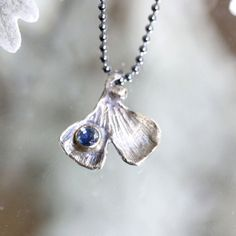 Ginkgo Leave Blue Sapphire Pendant Recycled by louisagallery on Etsy. My very favourite for today! <3