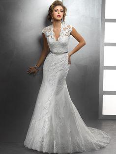 V-Neck Lace Wedding Dress | ... /Mermaid V-neck Lace Satin Chapel Train White Buttons Wedding Dresses