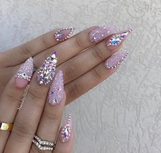 Pale pastel pink crystal rhinestone stiletto nails