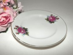 Porcelain Plate Pink Rose Saucer Butter Dish Mint Tray Romantic Floral Cottage…