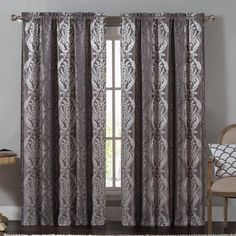 Vcny Home Madeline Traditional Damask 84 inch Length Rod Pocket Top Window Curtains, Multiple Colors Available, Black