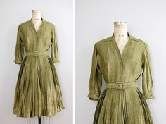 Moss green dress. $88 at DearGoldenVintage