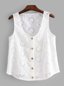 SHEIN offers Eyelet Embroidered Button Front Top & more to fit your fashionable needs.To find out about the [good_name] at SHEIN, part of our latest Tank Tops & Camis ready to shop online today! Casual Outfits, Summer Outfits, Cute Outfits, Fashion Outfits, Blouse Styles, Blouse Designs, Dress Sewing Patterns, Blouse Vintage, Diy Clothes