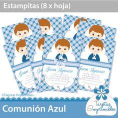 Estampitas de comunión de nene para imprimir #imprimibles #tarjetas #comunión