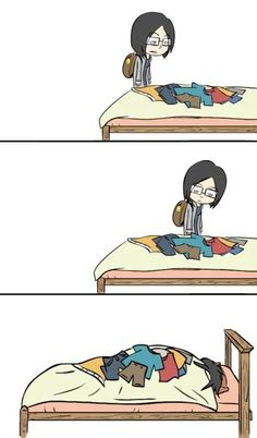 Hahaha.  def done this- and just slept on the other side..or picked up the whole comforter and put it on the ground (and grabbed another blanket) yep I hate folding laundry