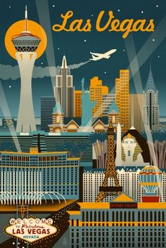 Las Vegas, Nevada - Retro Skyline - Lantern Press Artwork (16x24 Gallery Quality Metal Art), Multi