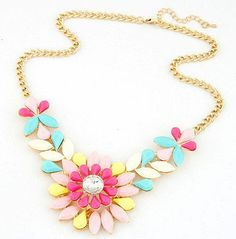 Bright Candy Colors Flower Statement Necklace - this shop is full of cute type 1 things!