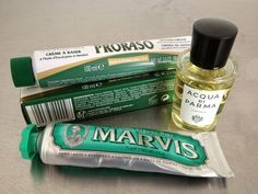 Italian grooming:    - Marvis toothpaste  - Proraso shaving cream  - Acqua di Parma Colonia - Eau de toilette