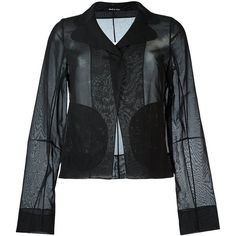 Maison Margiela sheer blazer (16.450 ARS) ❤ liked on Polyvore featuring outerwear, jackets, blazers, black, sheer jacket, blazer jacket, cotton blazer, long sleeve jacket and long sleeve blazer