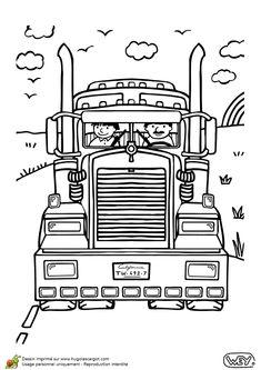 Un grand camion de pompier am ricain colorier - Camion americain dessin ...