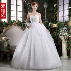 Love rhinestone flower bride wedding sweet princess wedding dress