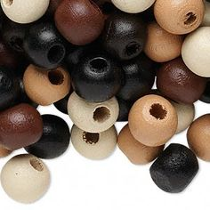 Bead mix, wood, natural-look, 10x9mm round. Sold per 400-gram pkg, approximately 1,500 beads.