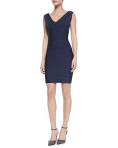 V-Neck Low-Back Fitted Bandage Dress by Herve Leger at Neiman Marcus.