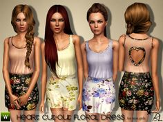 Teen Heart Cut-Out Floral Dress by Black Lily - Sims 3 Downloads CC Caboodle