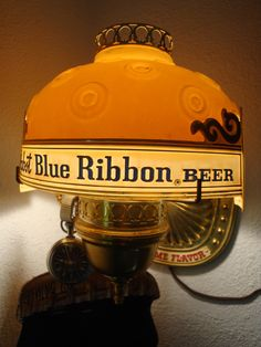 Pabst Blue Ribbon Wall Sconce, (the pocket watch is not standard) Ribbon Wall, Bar Stuff, Pabst Blue Ribbon, Local Brewery, Old Lights, Drinking Quotes, Beer Taps, Beer Signs, Good Ole