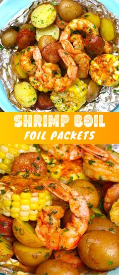 Boil Foil Packets- Shrimp Boil Foil Packets with jumbo shrimp, Andouille sausage, corn and potatoes with Cajun seasoning, grilled or baked. A delicious dinner that's ready in less than 30 minutes! Shrimp Potato Recipe, Cajun Shrimp Recipes, Seafood Boil Recipes, Easy Chicken Dinner Recipes, Shellfish Recipes, Recipes Dinner, Shrimp Boil Foil, Shrimp Tacos, Shrimp Pasta