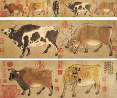 """""""Five Oxen"""" is a painting by Han Huang, a prime minister in the Tang Dynasty (618–907). The painting was lost during the occupation of Beijing by the Eight-Nation Alliance in 1900 and later recovered from a collector in Hong Kong during the early 1950s. Now it is stored in the Palace Museum in Beijing."""