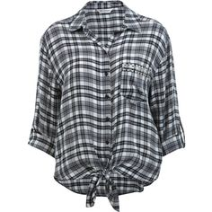 Miss Selfridge Knot Front Stud Check Shirt (51 PLN) ❤ liked on Polyvore featuring tops, blouses, shirts, assorted, black and white checkered shirt, black and white checked blouse, checkered blouse, black white shirt and studded shirt