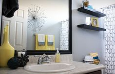 idées d'accessoires décoratifs dans la salle de bain vintage grise et jaune