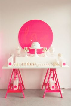 hello naomi dessert table hot pink and white